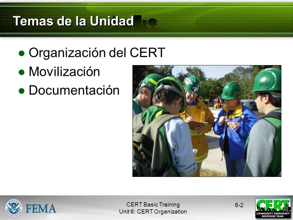 CERT Basic Training Unit 6: CERT Organization Jefes de Sección Proporcionan información al Centro de Mando Centro de Mando Documenta el estado de la situación Lugares del incidente Rutas de acceso Peligros identificados Sitios de apoyo 6-12 Documentación