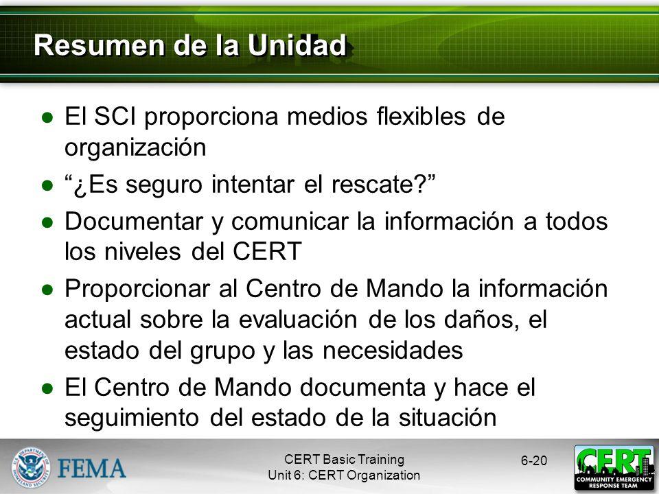 6-19 Flujo de la Documentación Capacitación Básica CERT Unidad 6: Organización del CERT