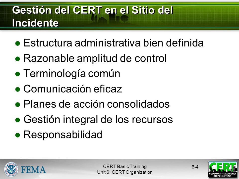 CERT Basic Training Unit 6: CERT Organization Estructura administrativa bien definida Razonable amplitud de control Terminología común Comunicación eficaz Planes de acción consolidados Gestión integral de los recursos Responsabilidad 6-4 Gestión del CERT en el Sitio del Incidente