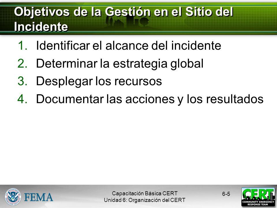 Capacitación Básica CERT Unidad 6: Organización del CERT 6-5 1.Identificar el alcance del incidente 2.Determinar la estrategia global 3.Desplegar los recursos 4.Documentar las acciones y los resultados Objetivos de la Gestión en el Sitio del Incidente