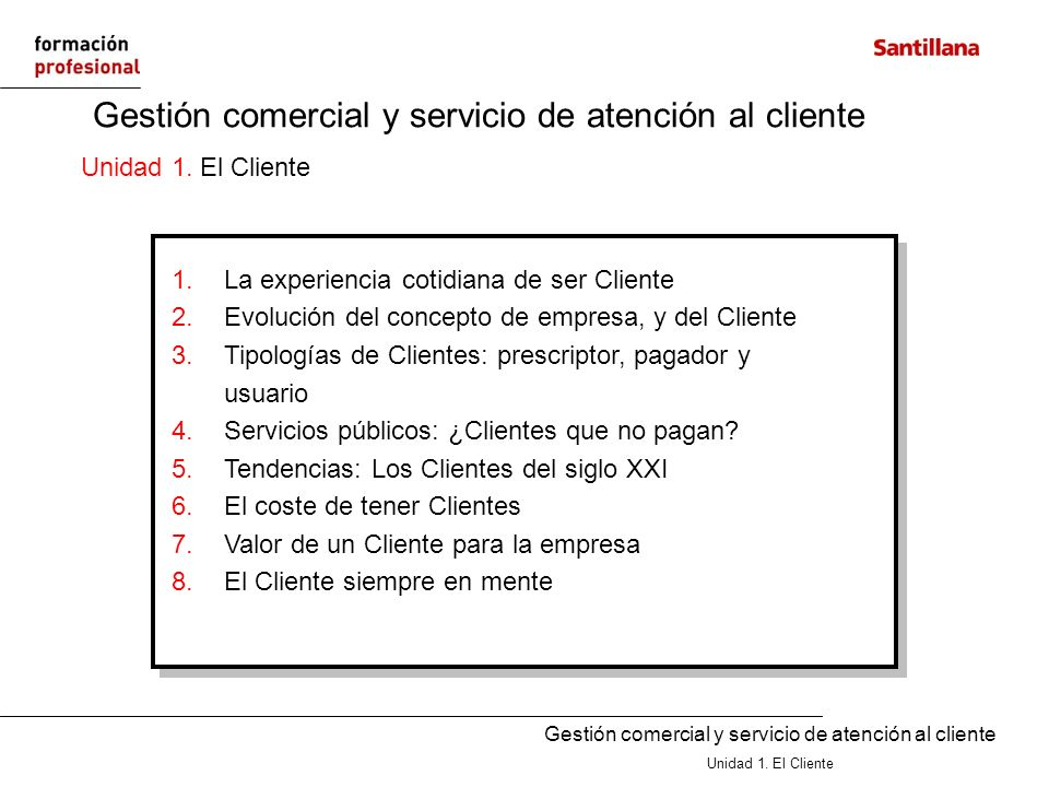 Gestión comercial y servicio de atención al cliente Unidad 1. El Cliente Gestión comercial y servicio de atención al cliente Unidad 1. El Cliente 1.La