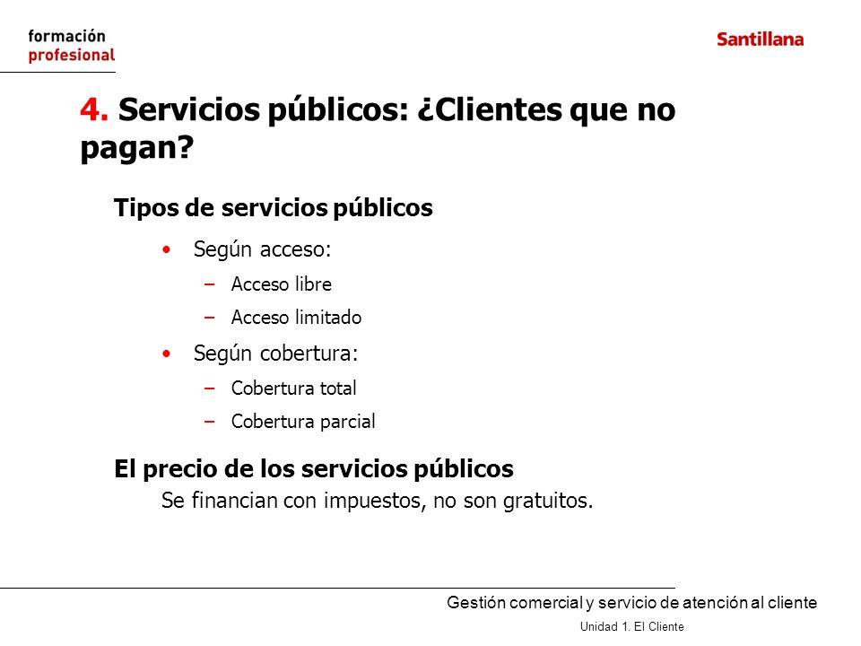 Gestión comercial y servicio de atención al cliente Unidad 1. El Cliente 4. Servicios públicos: ¿Clientes que no pagan? Según acceso: –Acceso libre –A