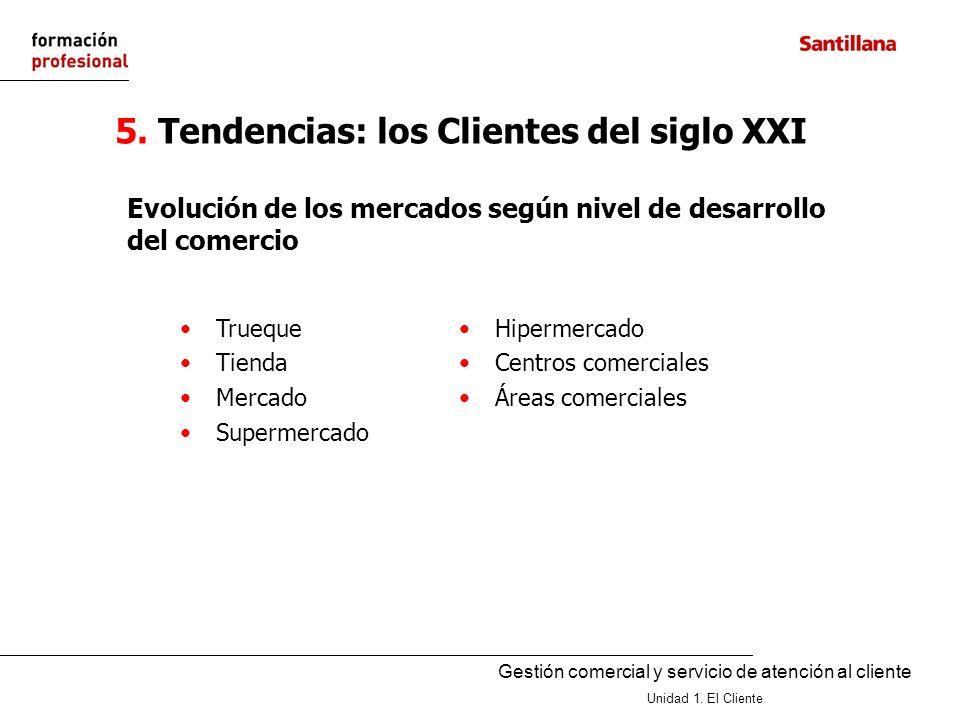 Gestión comercial y servicio de atención al cliente Unidad 1. El Cliente 5. Tendencias: los Clientes del siglo XXI Trueque Tienda Mercado Supermercado