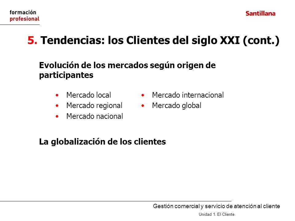 Gestión comercial y servicio de atención al cliente Unidad 1. El Cliente 5. Tendencias: los Clientes del siglo XXI (cont.) Evolución de los mercados s