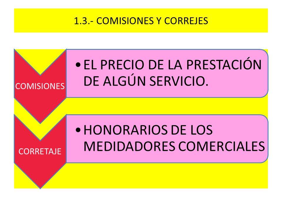 1.3.- COMISIONES Y CORREJES COMISIONES EL PRECIO DE LA PRESTACIÓN DE ALGÚN SERVICIO. CORRETAJE HONORARIOS DE LOS MEDIDADORES COMERCIALES