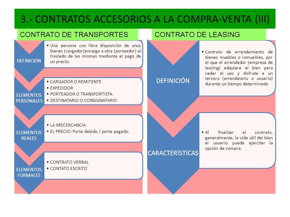3.- CONTRATOS ACCESORIOS A LA COMPRA-VENTA (III) DEFINICIÓN Una persona con libre disposición de unos bienes (cargador)encarga a otra (porteador) el t