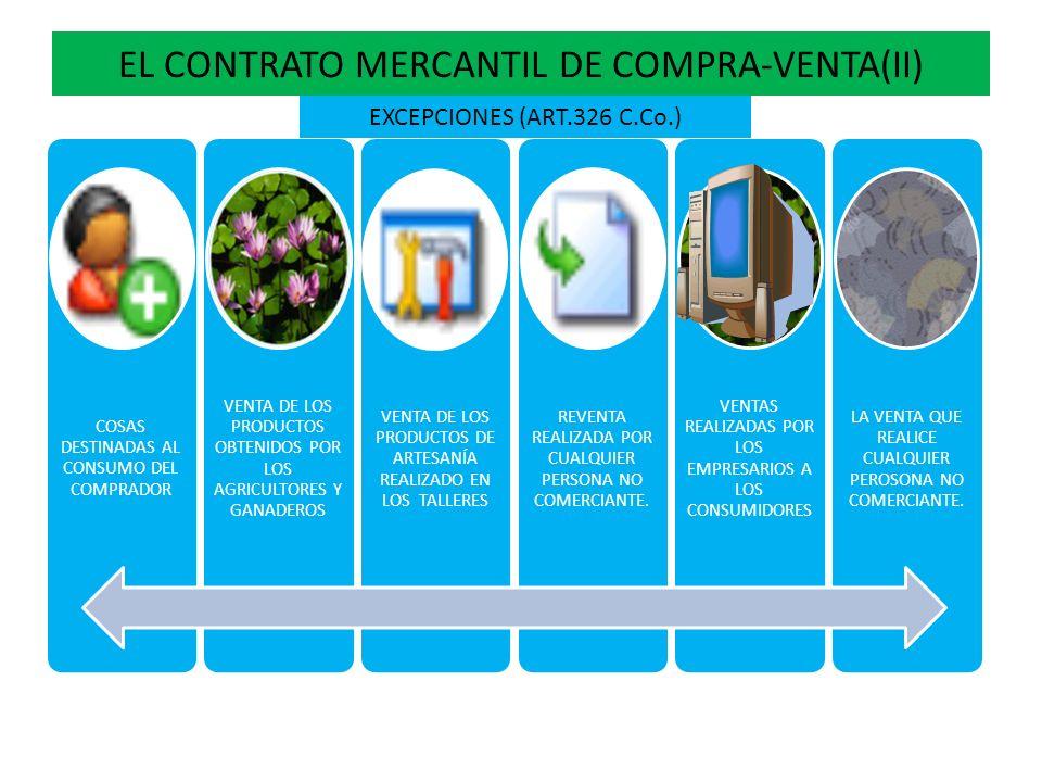 EL CONTRATO MERCANTIL DE COMPRA-VENTA(II) COSAS DESTINADAS AL CONSUMO DEL COMPRADOR VENTA DE LOS PRODUCTOS OBTENIDOS POR LOS AGRICULTORES Y GANADEROS