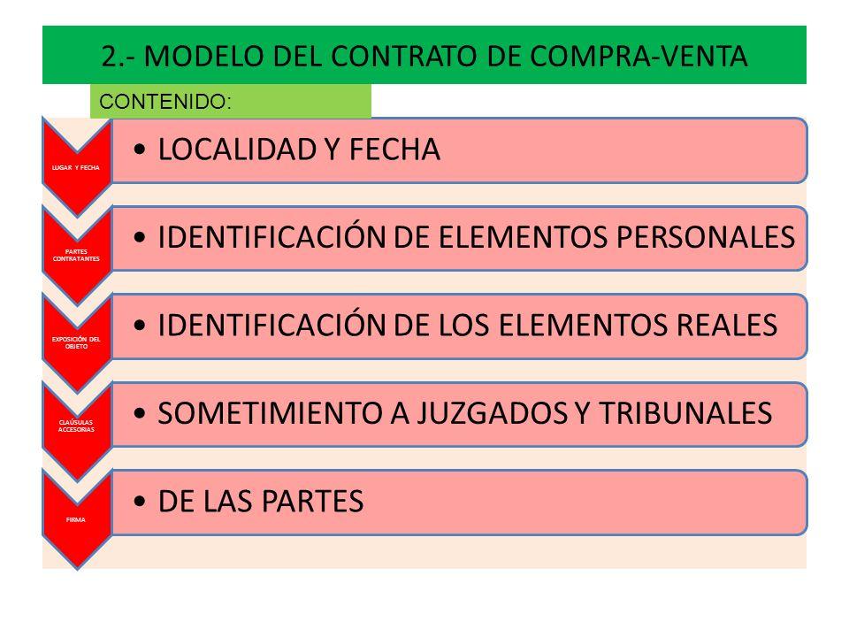 2.- MODELO DEL CONTRATO DE COMPRA-VENTA LUGAR Y FECHA LOCALIDAD Y FECHA PARTES CONTRATANTES IDENTIFICACIÓN DE ELEMENTOS PERSONALES EXPOSICIÓN DEL OBJE
