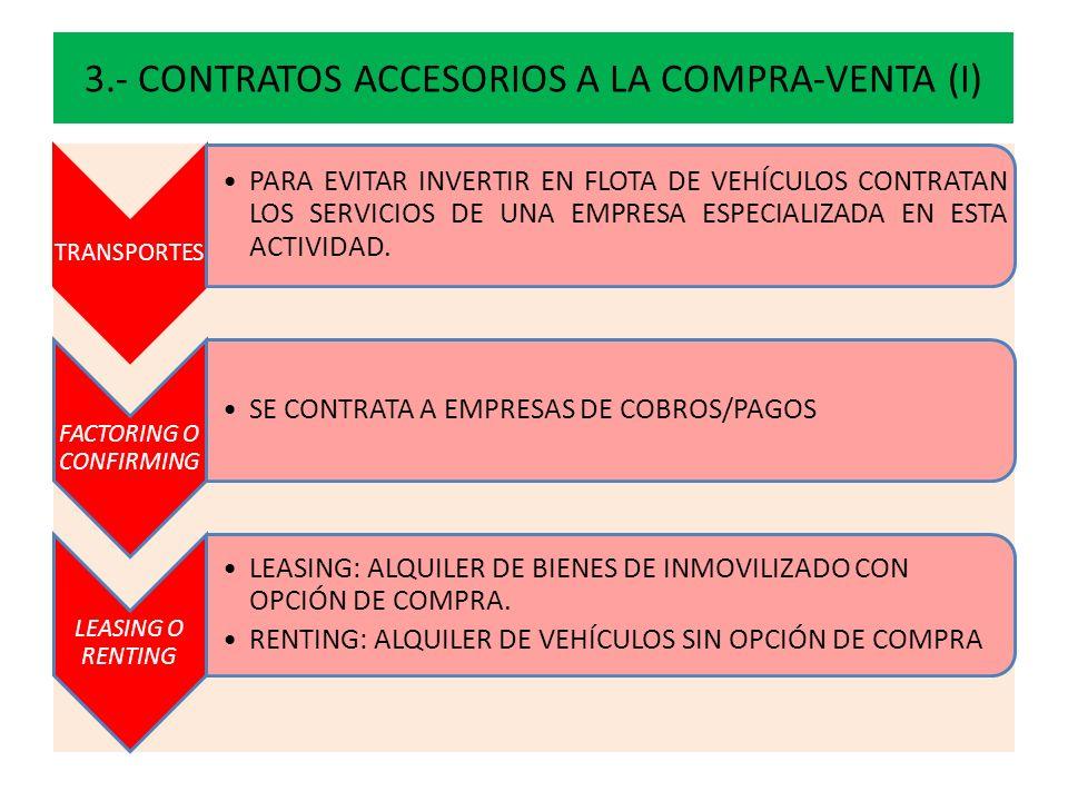 3.- CONTRATOS ACCESORIOS A LA COMPRA-VENTA (I) TRANSPORTES PARA EVITAR INVERTIR EN FLOTA DE VEHÍCULOS CONTRATAN LOS SERVICIOS DE UNA EMPRESA ESPECIALI