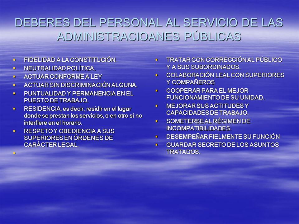DEBERES DEL PERSONAL AL SERVICIO DE LAS ADMINISTRACIOANES PÚBLICAS FIDELIDAD A LA CONSTITUCIÓN.