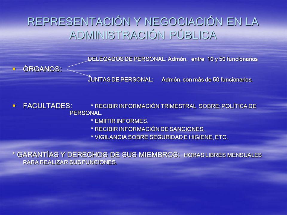 REPRESENTACIÓN Y NEGOCIACIÓN EN LA ADMINISTRACIÓN PÚBLICA DELEGADOS DE PERSONAL : Admón.