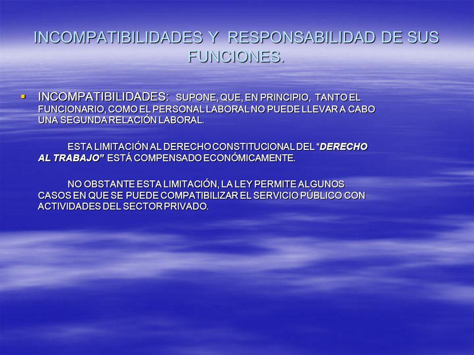 INCOMPATIBILIDADES Y RESPONSABILIDAD DE SUS FUNCIONES.