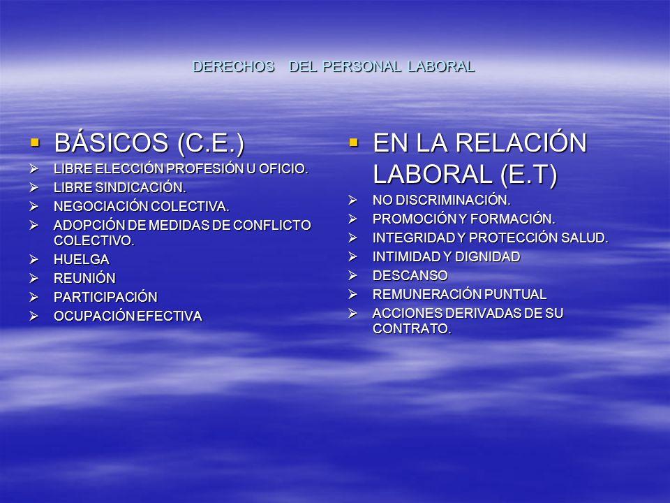 DERECHOS DEL PERSONAL LABORAL BÁSICOS (C.E.) BÁSICOS (C.E.) LIBRE ELECCIÓN PROFESIÓN U OFICIO.