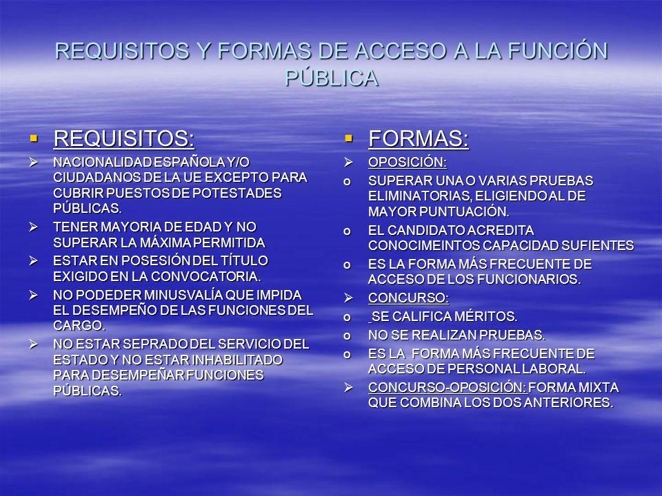 REQUISITOS Y FORMAS DE ACCESO A LA FUNCIÓN PÚBLICA REQUISITOS: REQUISITOS: NACIONALIDAD ESPAÑOLA Y/O CIUDADANOS DE LA UE EXCEPTO PARA CUBRIR PUESTOS DE POTESTADES PÚBLICAS.