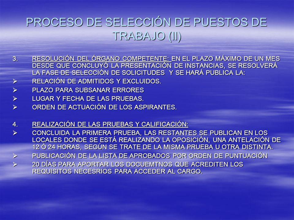PROCESO DE SELECCIÓN DE PUESTOS DE TRABAJO (II) 3.RESOLUCIÓN DEL ÓRGANO COMPETENTE: EN EL PLAZO MÁXIMO DE UN MES DESDE QUE CONCLUYÓ LA PRESENTACIÓN DE INSTANCIAS, SE RESOLVERÁ LA FASE DE SELECCIÓN DE SOLICITUDES Y SE HARÁ PUBLICA LA: RELACIÓN DE ADMITIDOS Y EXCLUIDOS.