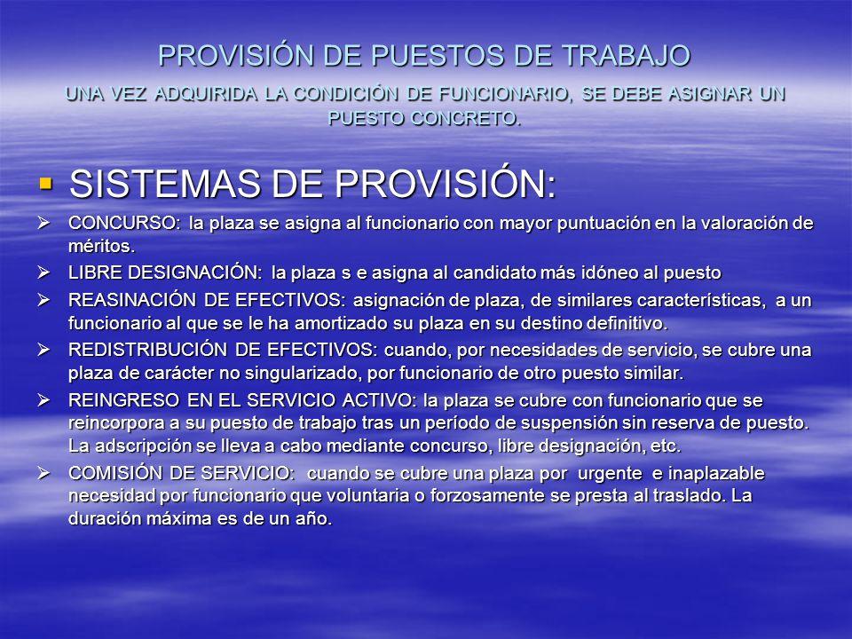 PROVISIÓN DE PUESTOS DE TRABAJO UNA VEZ ADQUIRIDA LA CONDICIÓN DE FUNCIONARIO, SE DEBE ASIGNAR UN PUESTO CONCRETO.