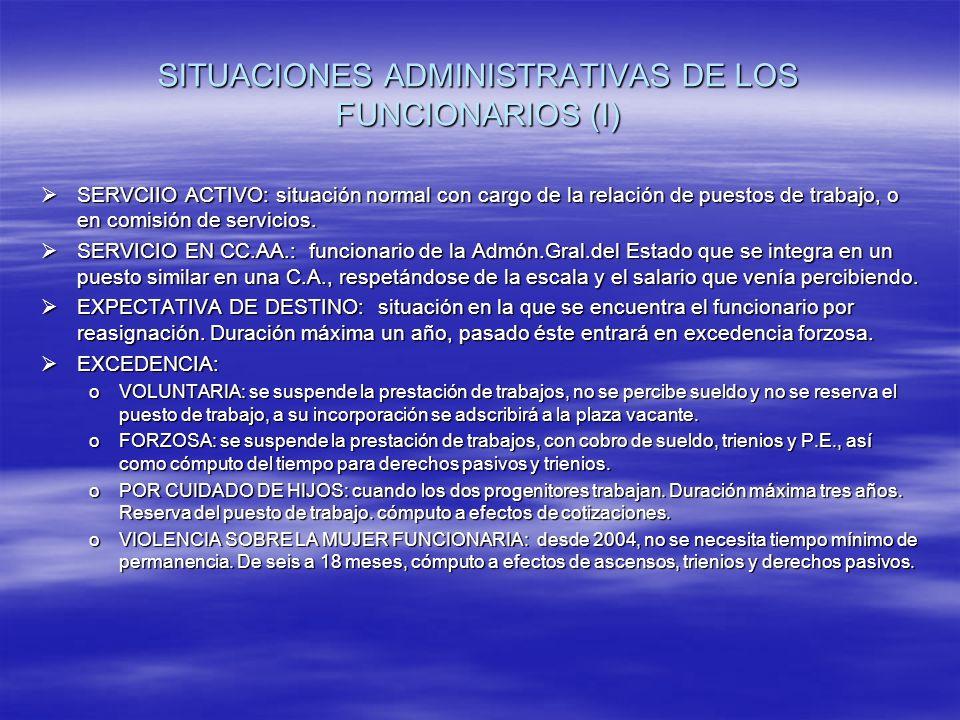 SITUACIONES ADMINISTRATIVAS DE LOS FUNCIONARIOS (I) SERVCIIO ACTIVO: situación normal con cargo de la relación de puestos de trabajo, o en comisión de servicios.