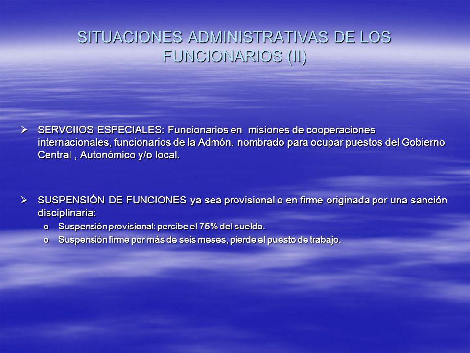 SITUACIONES ADMINISTRATIVAS DE LOS FUNCIONARIOS (II) SERVCIIOS ESPECIALES: Funcionarios en misiones de cooperaciones internacionales, funcionarios de la Admón.