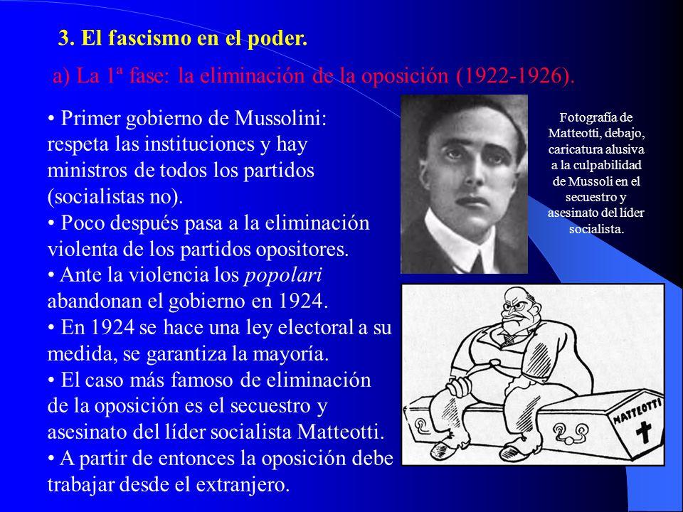 3. El fascismo en el poder. a) La 1ª fase: la eliminación de la oposición (1922-1926). Primer gobierno de Mussolini: respeta las instituciones y hay m