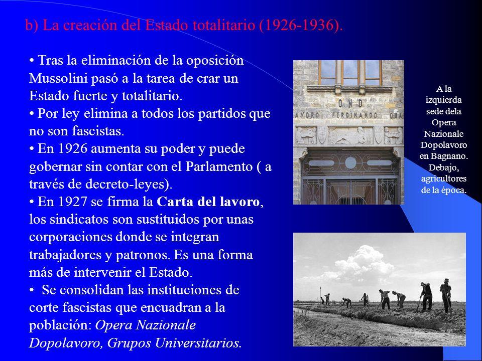 b) La creación del Estado totalitario (1926-1936). Tras la eliminación de la oposición Mussolini pasó a la tarea de crar un Estado fuerte y totalitari