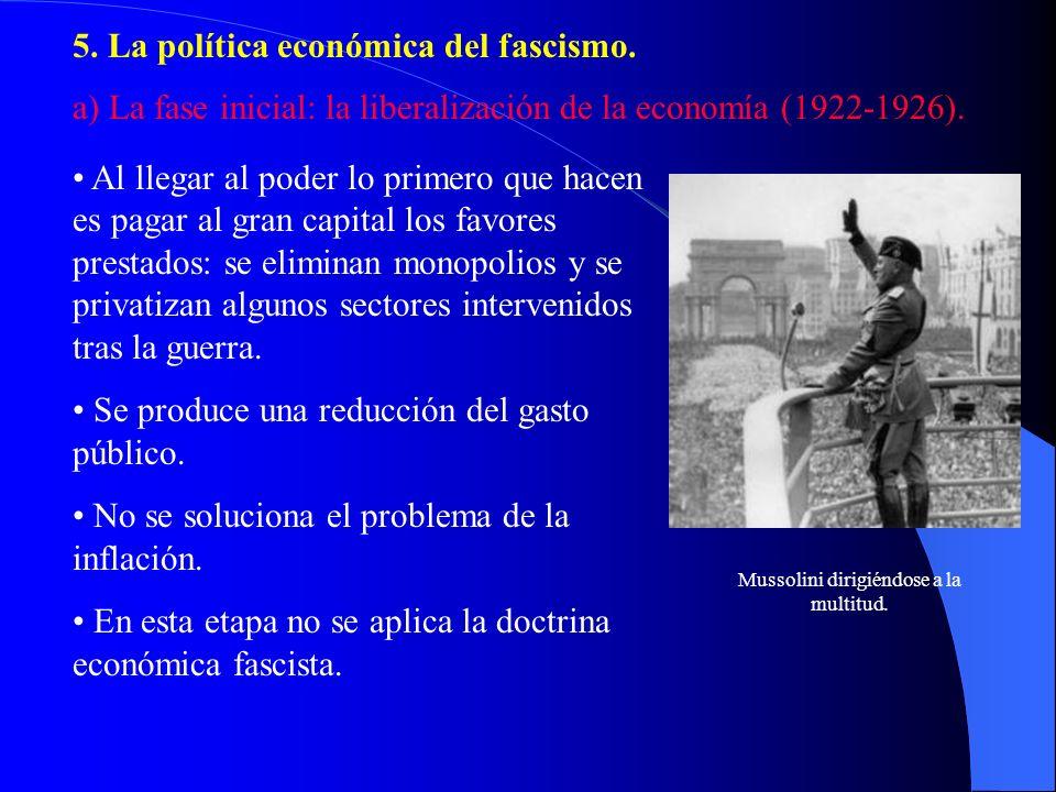 5. La política económica del fascismo. a) La fase inicial: la liberalización de la economía (1922-1926). Al llegar al poder lo primero que hacen es pa