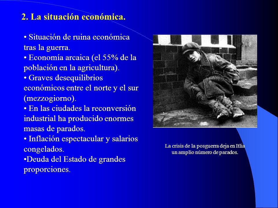 2. La situación económica. Situación de ruina económica tras la guerra. Economía arcaica (el 55% de la población en la agricultura). Graves desequilib