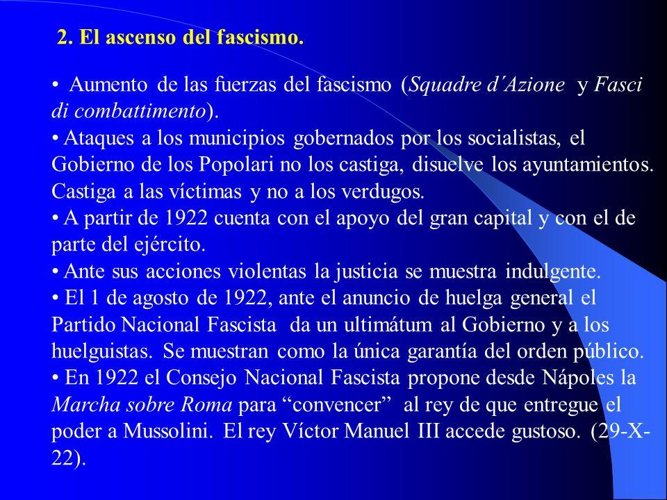 2. El ascenso del fascismo. Aumento de las fuerzas del fascismo (Squadre d´Azione y Fasci di combattimento). Ataques a los municipios gobernados por l