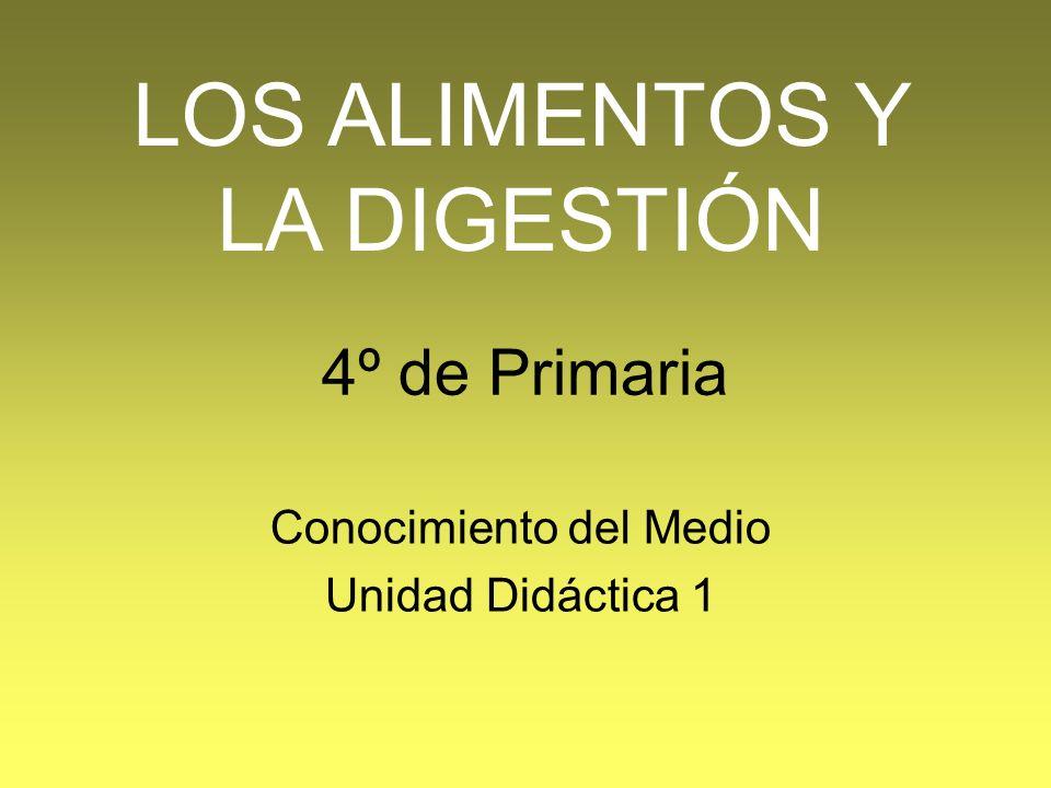 4º de Primaria Conocimiento del Medio Unidad Didáctica 1 LOS ALIMENTOS Y LA DIGESTIÓN