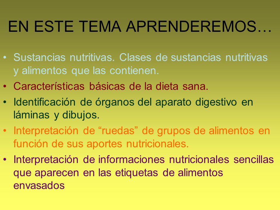 EN ESTE TEMA APRENDEREMOS… Sustancias nutritivas. Clases de sustancias nutritivas y alimentos que las contienen. Características básicas de la dieta s