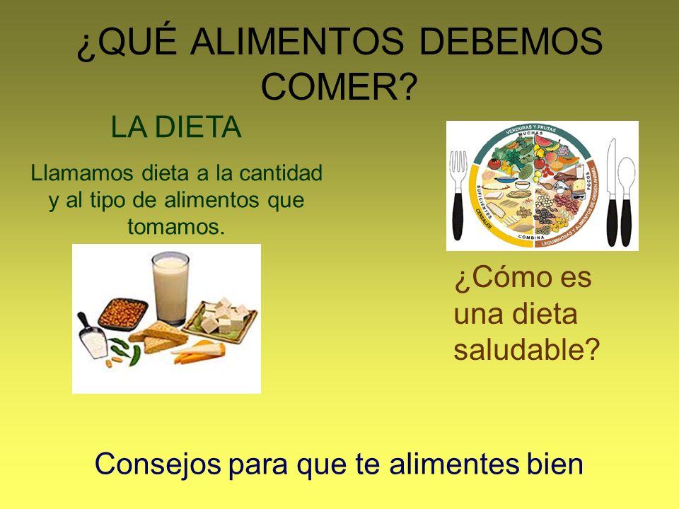 ¿QUÉ ALIMENTOS DEBEMOS COMER? LA DIETA Llamamos dieta a la cantidad y al tipo de alimentos que tomamos. ¿Cómo es una dieta saludable? Consejos para qu