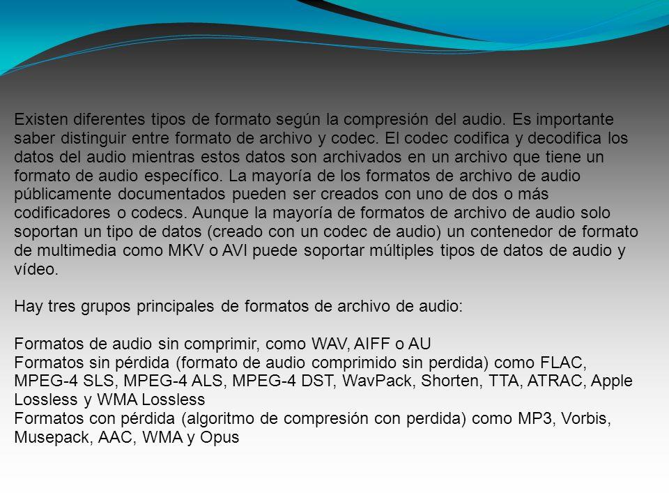 Existen diferentes tipos de formato según la compresión del audio.