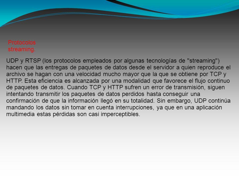 UDP y RTSP (los protocolos empleados por algunas tecnologías de streaming ) hacen que las entregas de paquetes de datos desde el servidor a quien reproduce el archivo se hagan con una velocidad mucho mayor que la que se obtiene por TCP y HTTP.
