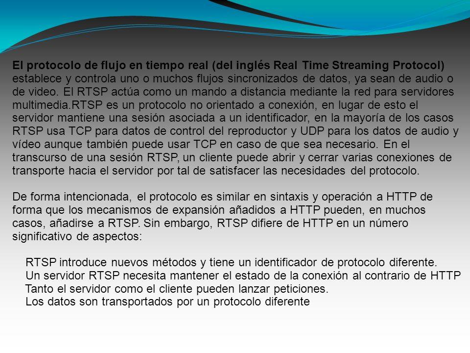 El protocolo de flujo en tiempo real (del inglés Real Time Streaming Protocol) establece y controla uno o muchos flujos sincronizados de datos, ya sean de audio o de video.