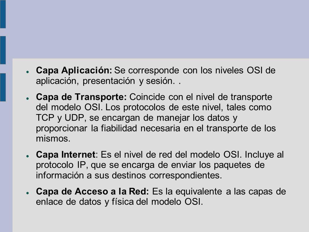 Capa Aplicación: Se corresponde con los niveles OSI de aplicación, presentación y sesión.. Capa de Transporte: Coincide con el nivel de transporte del