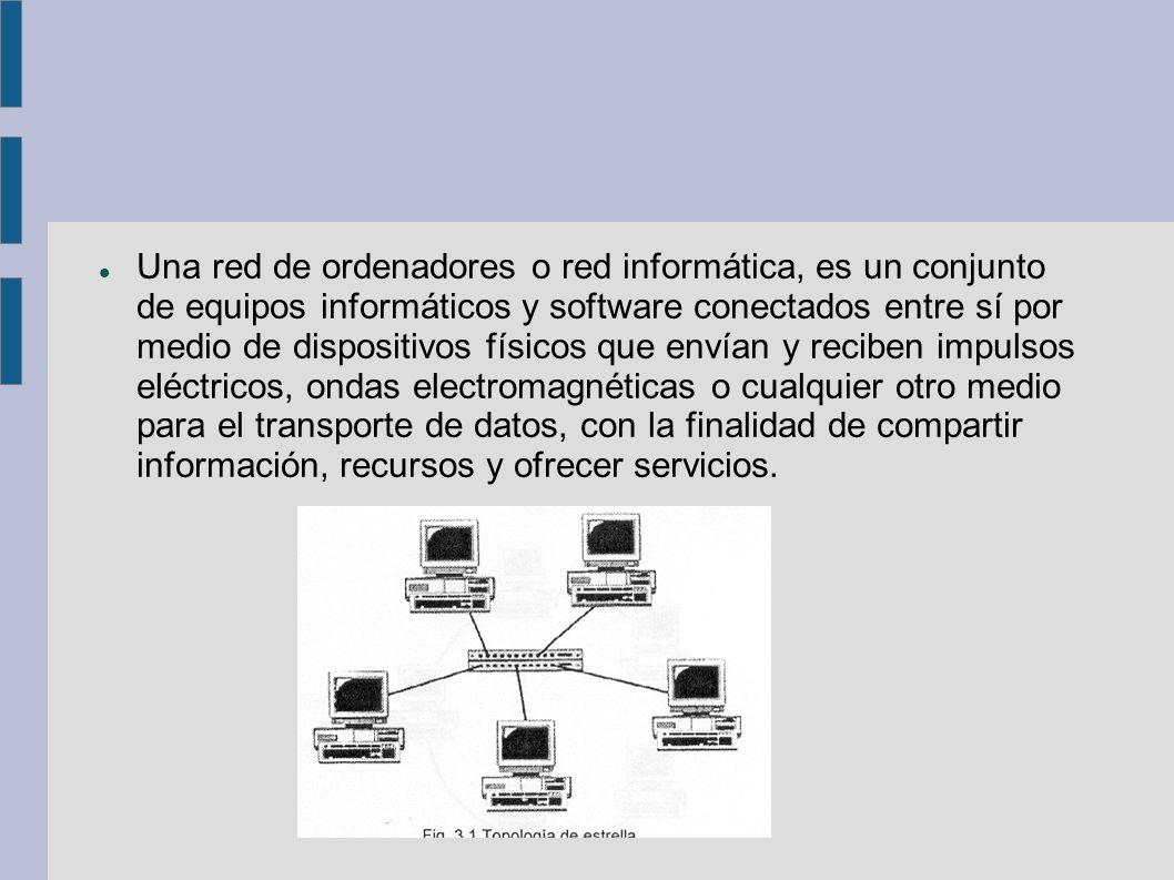 Una red de ordenadores o red informática, es un conjunto de equipos informáticos y software conectados entre sí por medio de dispositivos físicos que