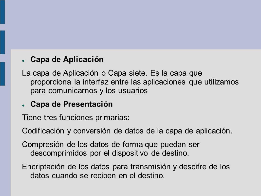 Capa de Aplicación La capa de Aplicación o Capa siete. Es la capa que proporciona la interfaz entre las aplicaciones que utilizamos para comunicarnos