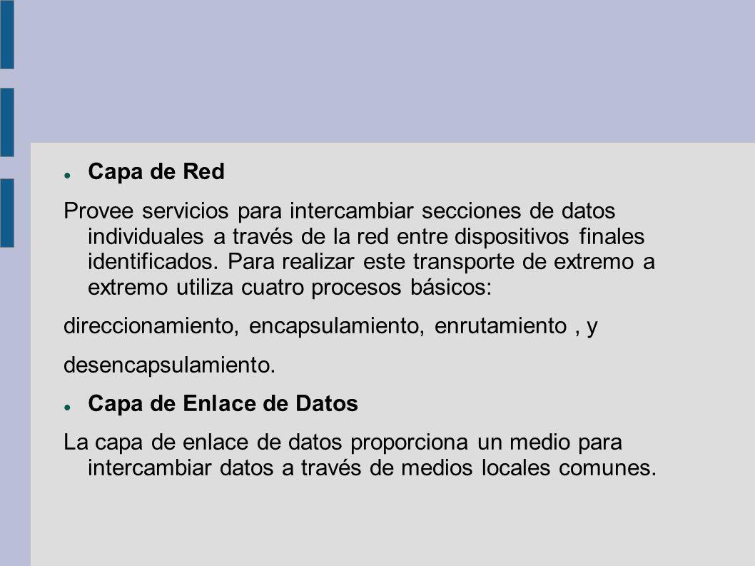 Capa de Red Provee servicios para intercambiar secciones de datos individuales a través de la red entre dispositivos finales identificados. Para reali