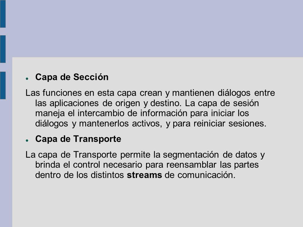 Capa de Sección Las funciones en esta capa crean y mantienen diálogos entre las aplicaciones de origen y destino. La capa de sesión maneja el intercam