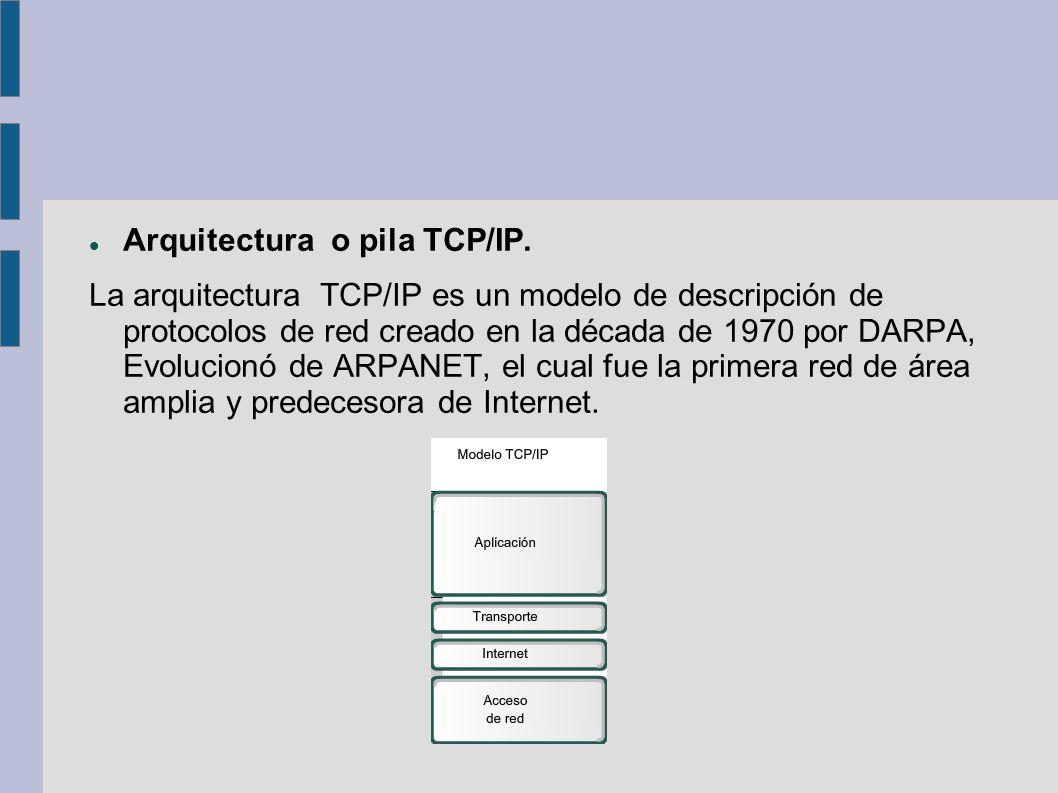 Arquitectura o pila TCP/IP. La arquitectura TCP/IP es un modelo de descripción de protocolos de red creado en la década de 1970 por DARPA, Evolucionó
