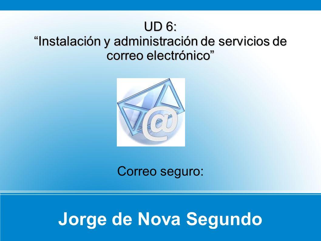 Jorge de Nova Segundo UD 6: Instalación y administración de servicios de correo electrónico Correo seguro: