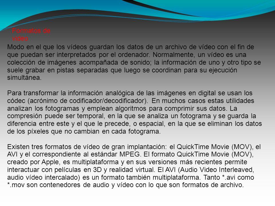 Modo en el que los vídeos guardan los datos de un archivo de vídeo con el fin de que puedan ser interpretados por el ordenador. Normalmente, un vídeo
