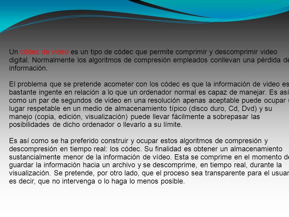 Un códec de video es un tipo de códec que permite comprimir y descomprimir video digital. Normalmente los algoritmos de compresión empleados conllevan