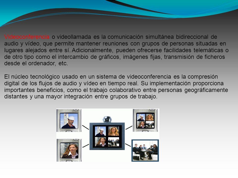 Videoconferencia o videollamada es la comunicación simultánea bidireccional de audio y vídeo, que permite mantener reuniones con grupos de personas si
