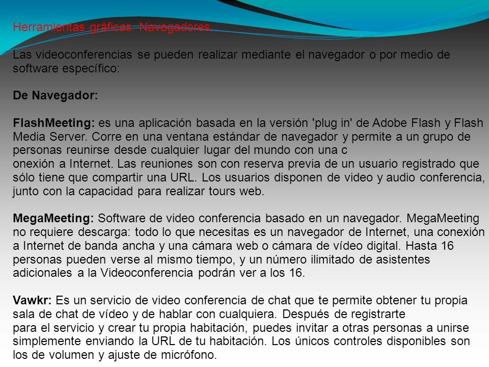 Herramientas gráficas. Navegadores. Las videoconferencias se pueden realizar mediante el navegador o por medio de software específico: De Navegador: F