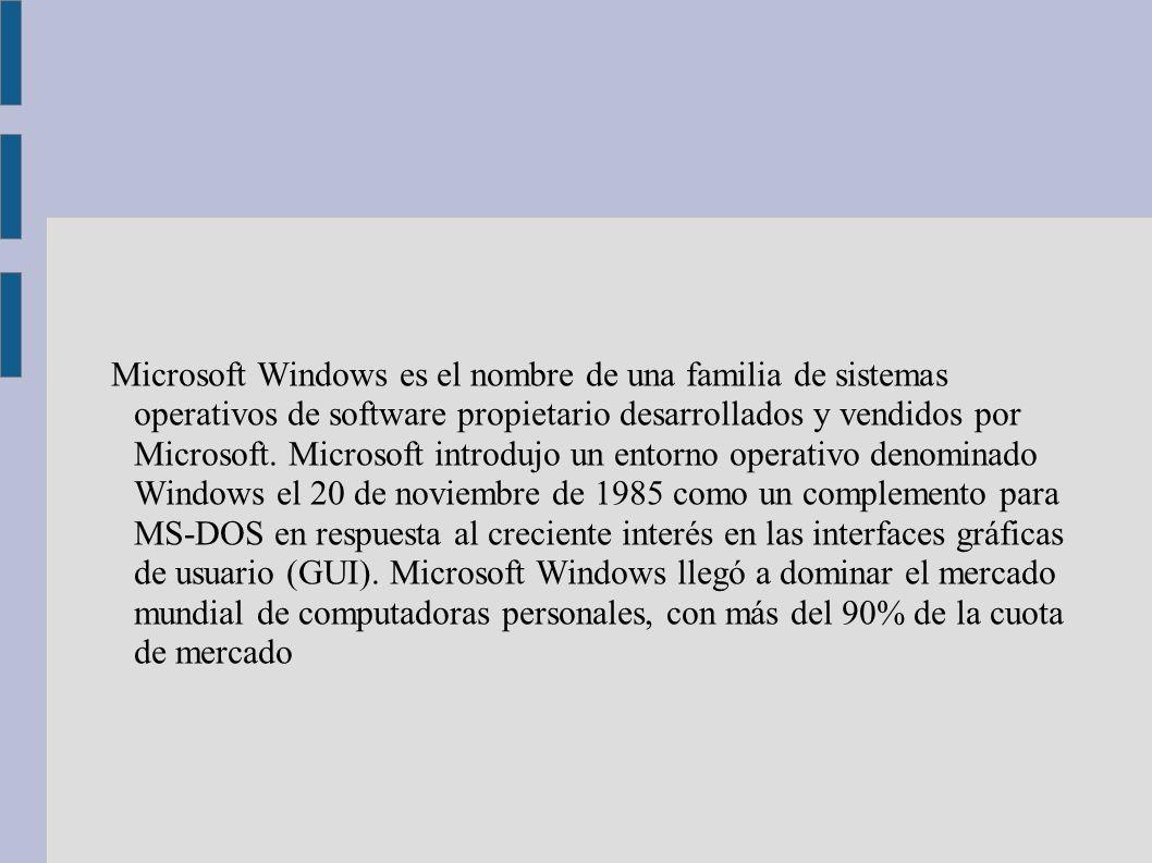 Microsoft Windows es el nombre de una familia de sistemas operativos de software propietario desarrollados y vendidos por Microsoft. Microsoft introdu