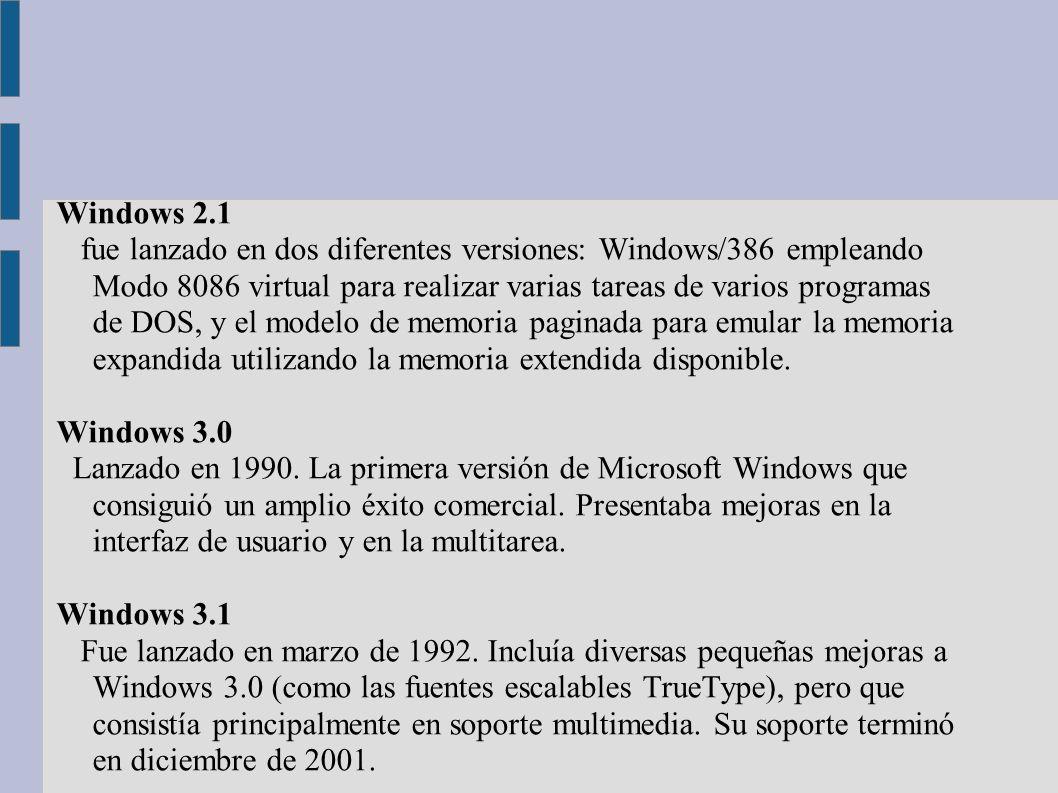 Windows 2.1 fue lanzado en dos diferentes versiones: Windows/386 empleando Modo 8086 virtual para realizar varias tareas de varios programas de DOS, y