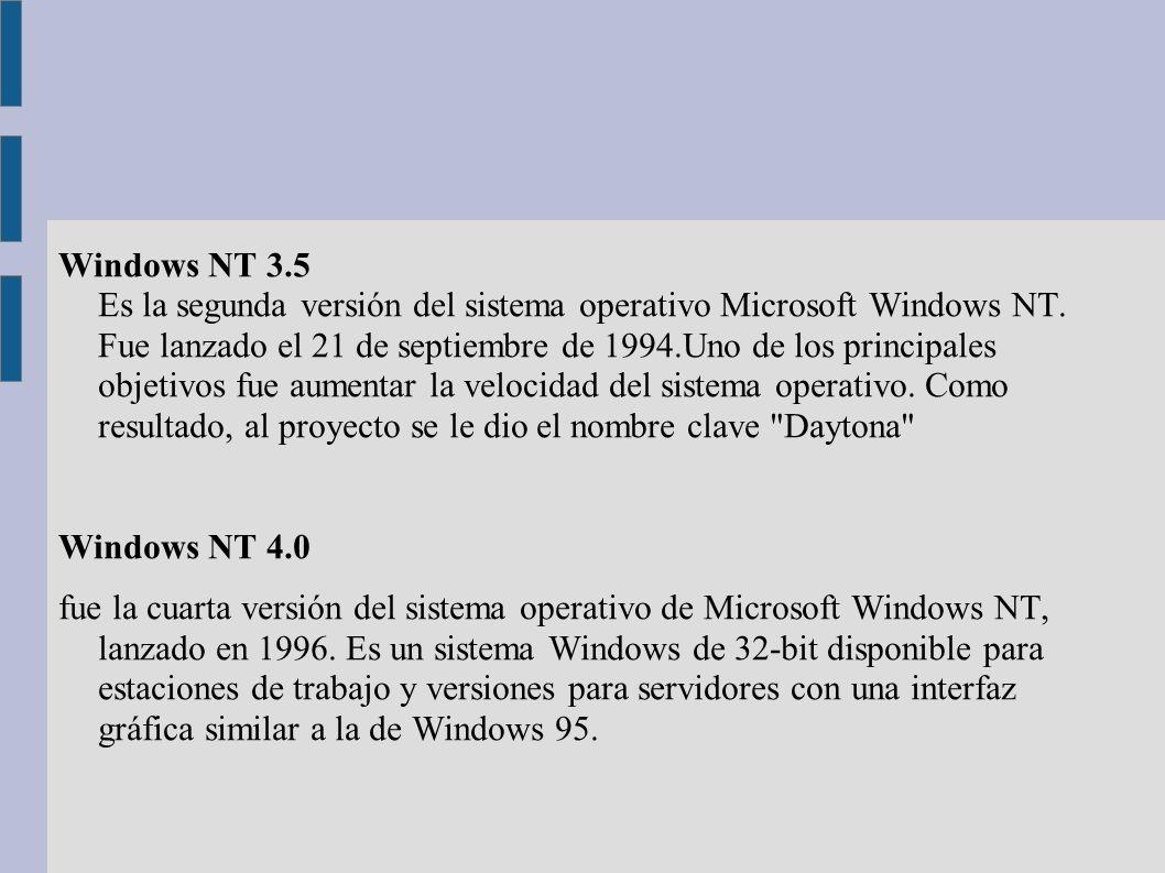 Windows NT 3.5 Es la segunda versión del sistema operativo Microsoft Windows NT. Fue lanzado el 21 de septiembre de 1994.Uno de los principales objeti