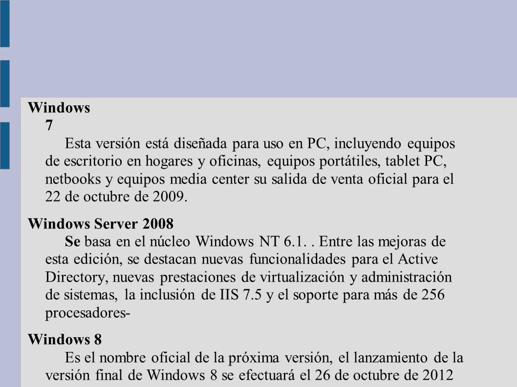 Windows 7 Esta versión está diseñada para uso en PC, incluyendo equipos de escritorio en hogares y oficinas, equipos portátiles, tablet PC, netbooks y