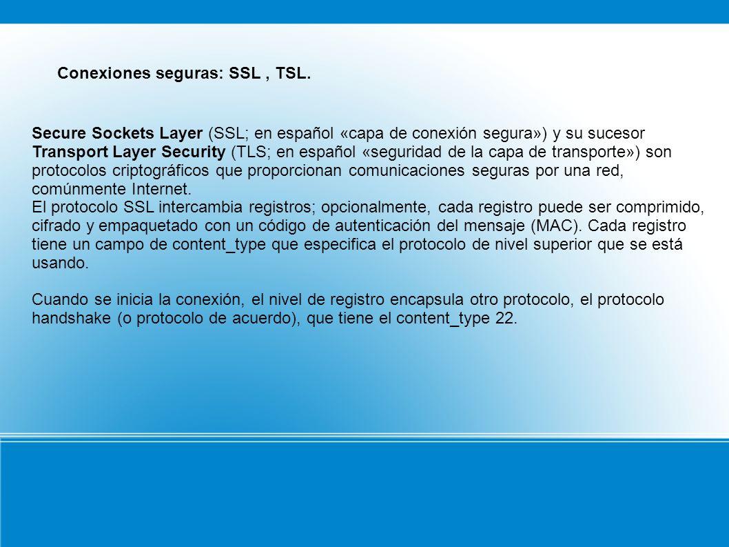Conexiones seguras: SSL, TSL.