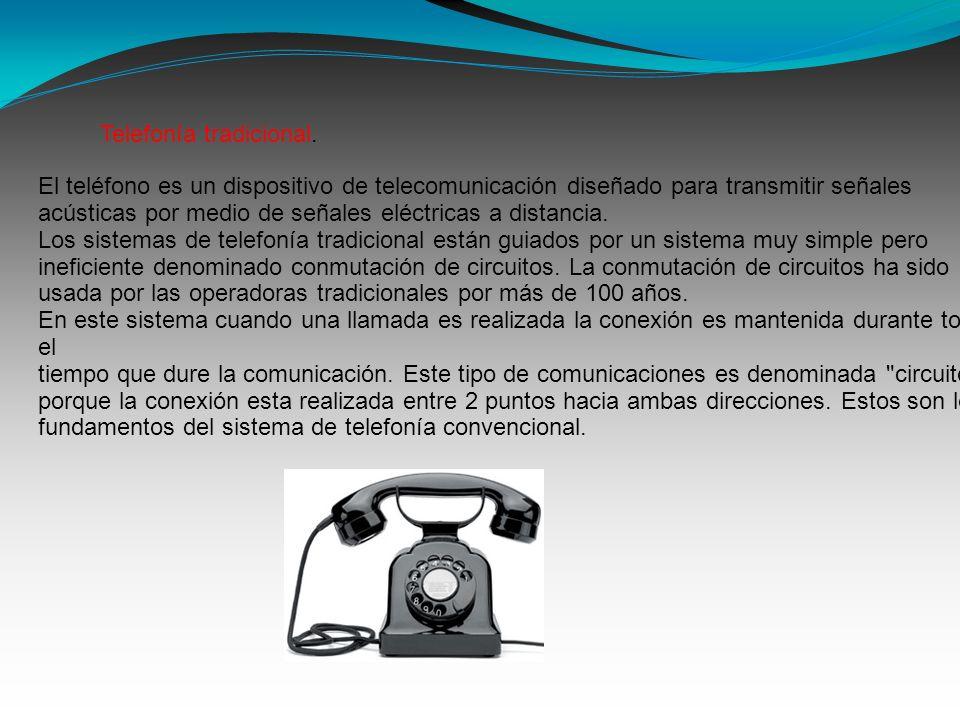 El teléfono es un dispositivo de telecomunicación diseñado para transmitir señales acústicas por medio de señales eléctricas a distancia. Los sistemas